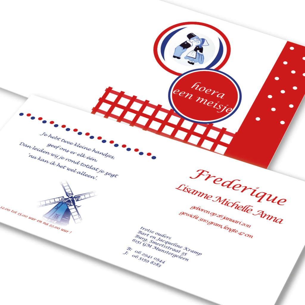 Attività geboortekaartje voor Frederique