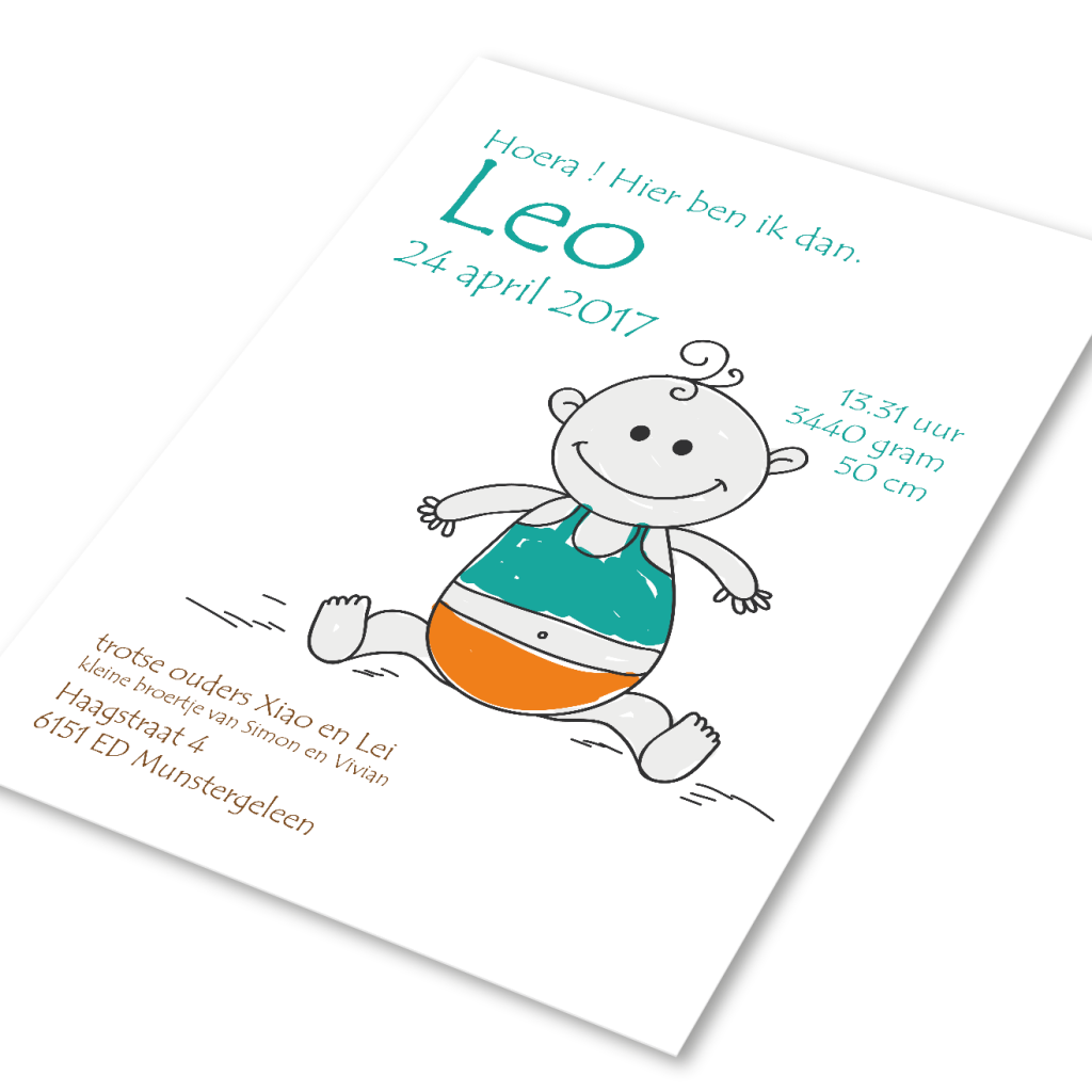Attività geboortekaartje voor Leo
