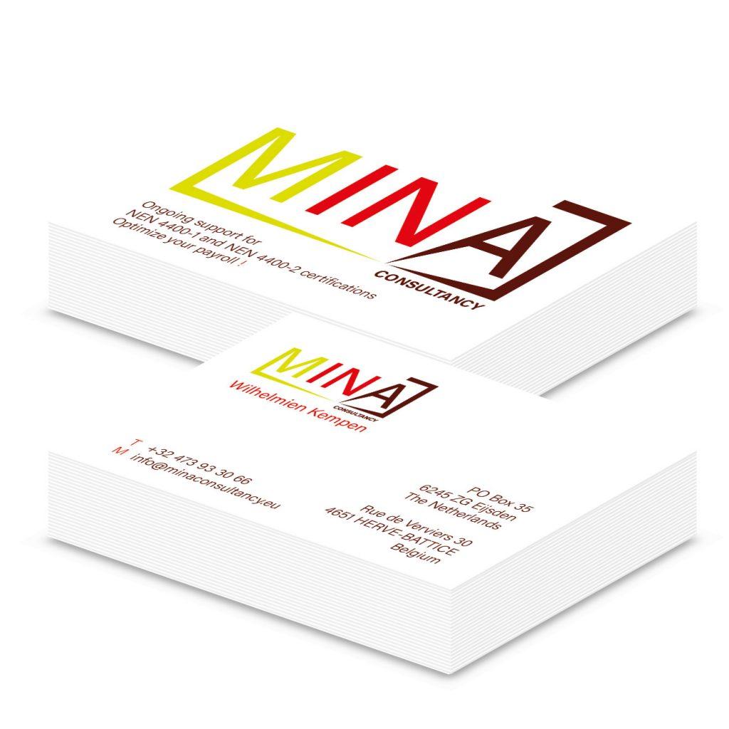 Attività visitekaart MINA Consultancy