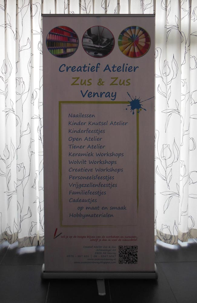 Attività - rollup banner voor Atelier Zus & Zus Venray